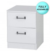 Century 2 Drawer White Bedside Chest