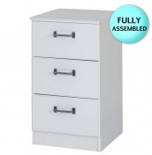 Century 3 Drawer White Bedside Chest