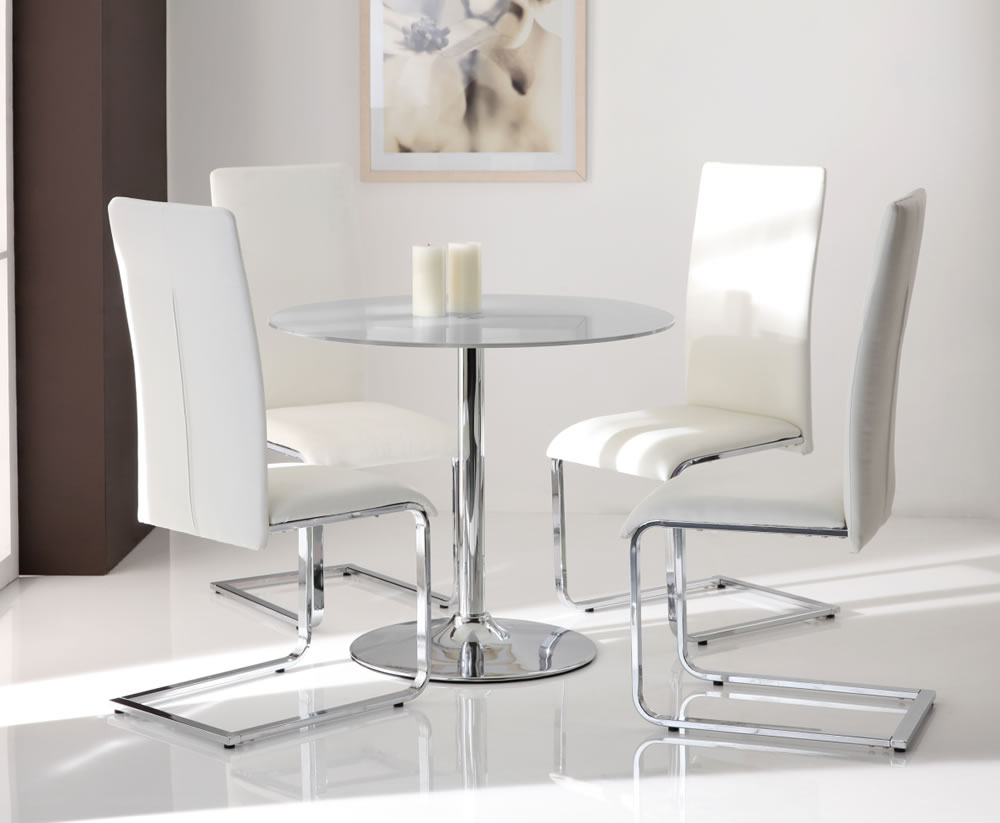 Jayden clear round glass kitchen table and chairs for Kitchen table and chairs