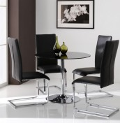 Jayden Black Glass Kitchen Table and Chairs