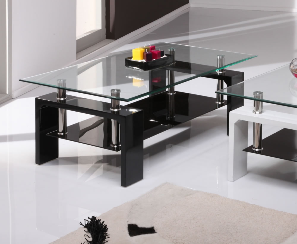 Parma black high gloss and glass coffee table 100w x 60d x 38h cm Black coffee table with glass