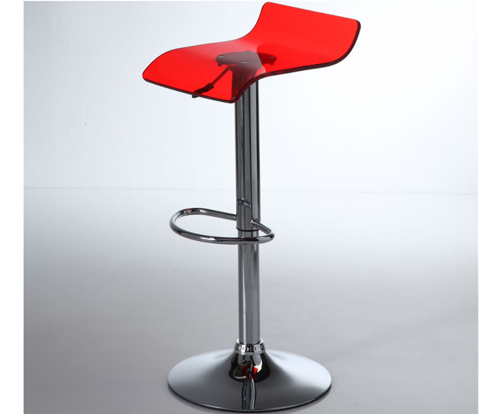 Wilton Red Acrylic Gas Lift Bar Stool