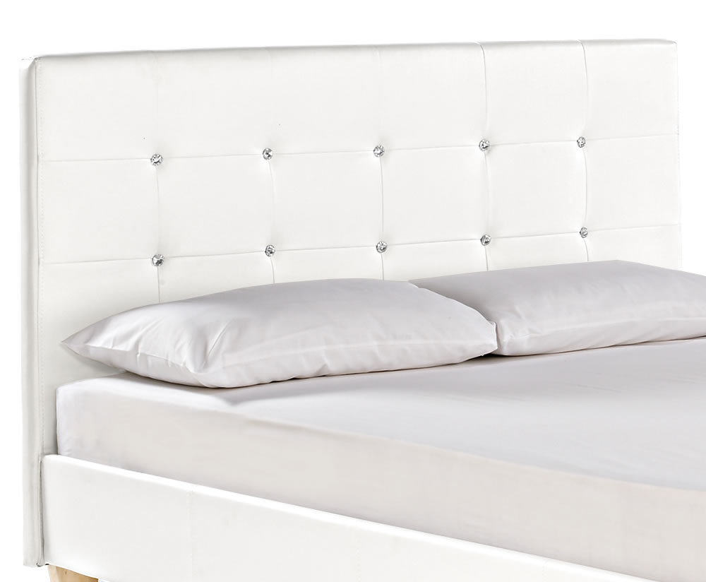 Home decorating pictures white bed with diamonds for Diamond bed frame