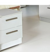 Queen 2 Drawer White High Gloss Bedside Chest