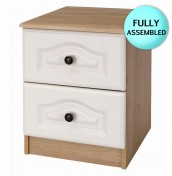 Bonne Two Tone 2 Drawer Oak Bedside Chest