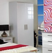 Queen 2 Door White High Gloss Wardrobes