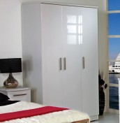 Queen 3 Door White High Gloss Wardrobes