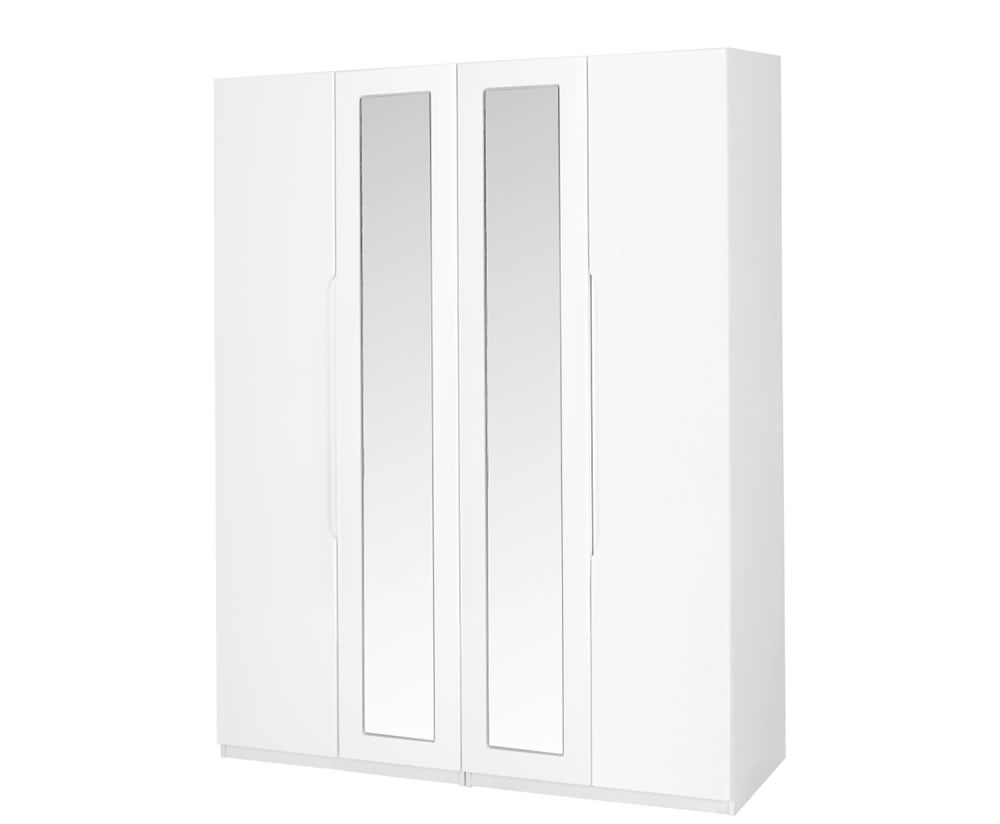 Trend 4 Door Tall White High Gloss Wardrobe
