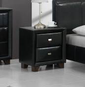 Jersey 2 Drawer Black Bedside Chest