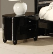 Genova Black 2 Drawer High Gloss Bedside Chest
