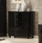 Genova Black High Gloss 5 Drawer Wide Chest