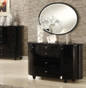 Genova Black 4 Drawer Chest with Mirror