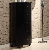 Genova Black 5 Drawer Narrow Chest