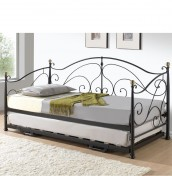 Aversa Black Metal Day Bed with Trundle
