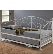 Aversa Cream Metal Day Bed with Trundle