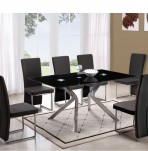 Prague Black Glass Dining Table and Chairs