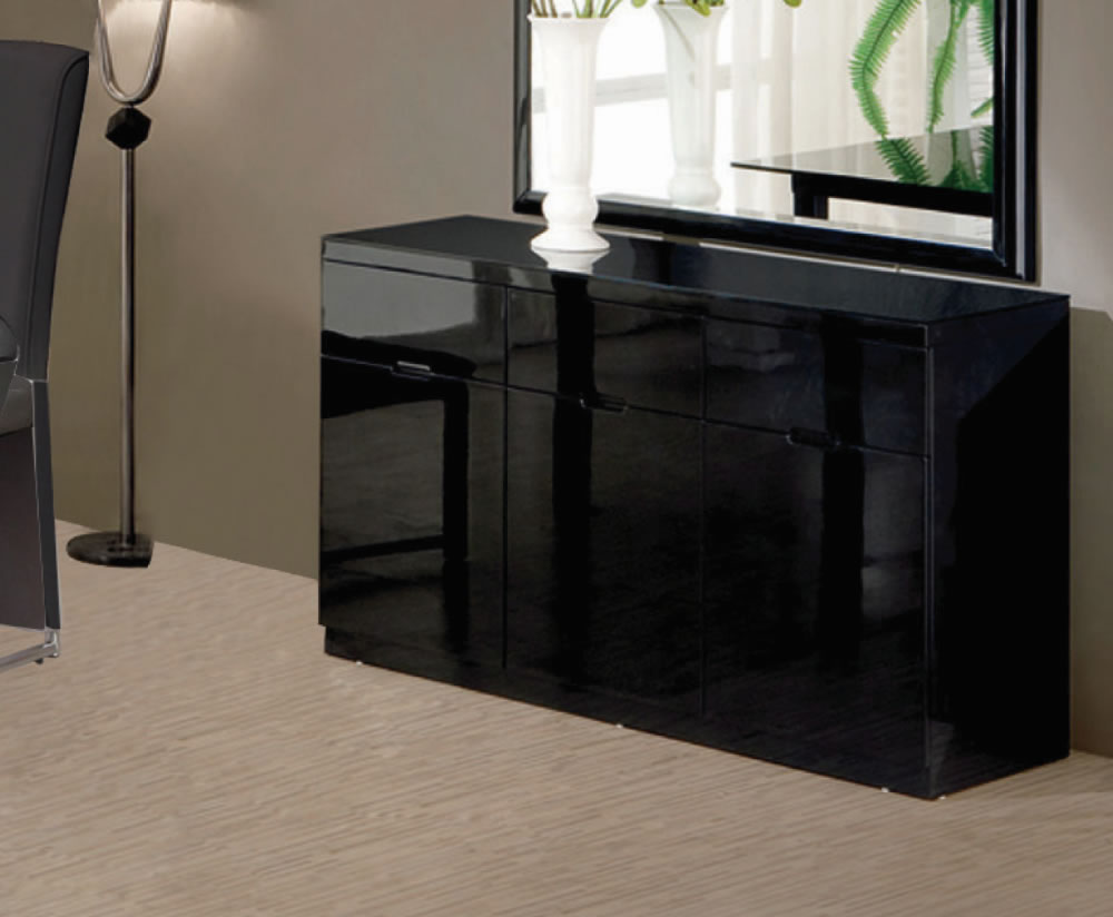 swiss black high gloss small sideboard. Black Bedroom Furniture Sets. Home Design Ideas
