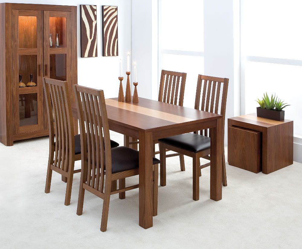 Denver Walnut Small Dining Table And Chairs