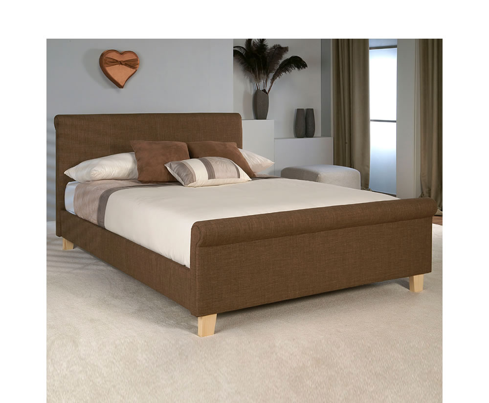 Twilight caramel upholstered bed frame for Upholstered bed frame