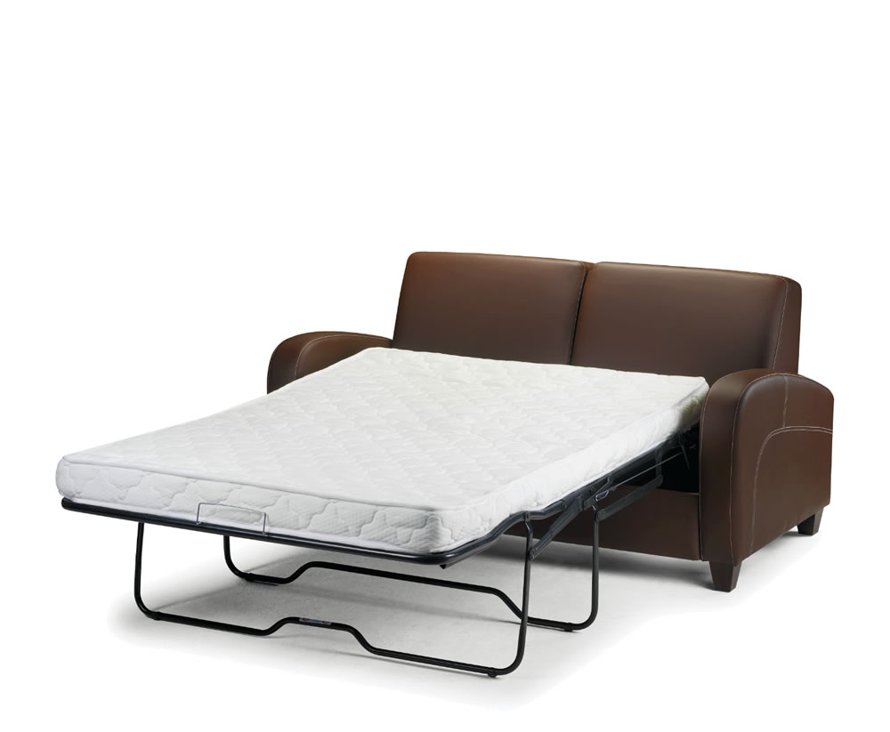 Vivo faux leather pull out sofa bed chestnut uk delivery for Beds 80 off