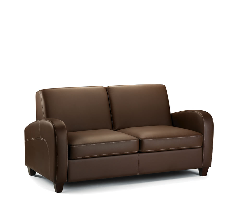 Vivo faux leather pull out sofa bed chestnut uk delivery Pull out loveseat sofa bed
