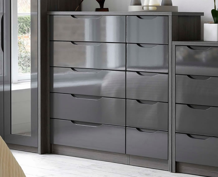 Affinity 10 Drawer High Gloss Wide Chest Uk Delivery