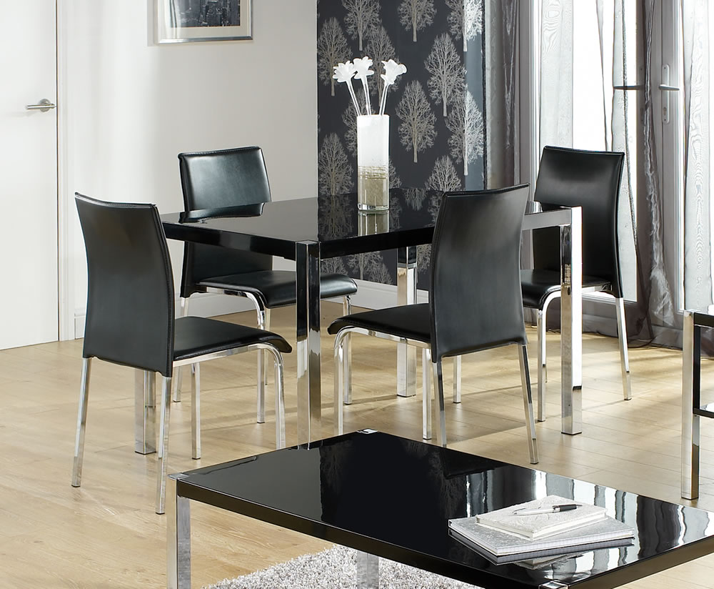 kitchen furniture uk theo black high gloss kitchen table and chairs 13313