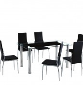 Subra Black Glass Dining Table and Chairs
