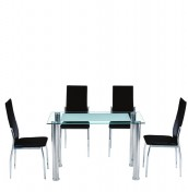 Subra Frosted Glass Dining Table and Chairs
