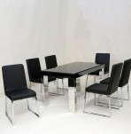 Livorno Black Glass Dining Set