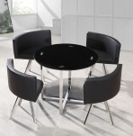 Sassari Black Glass Dining Table and Chairs