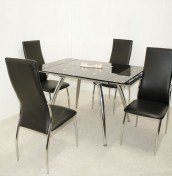Salida Black Glass Extending Dining Table and Chairs