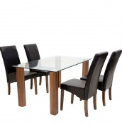 Mattia Clear Glass Dining Table and Chairs