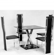 Addax Black Glass Kitchen Table and Chairs