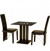 Helena Black Glass Breakfast Table and Chairs
