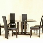 Helena Black Glass Dining Table and Chairs