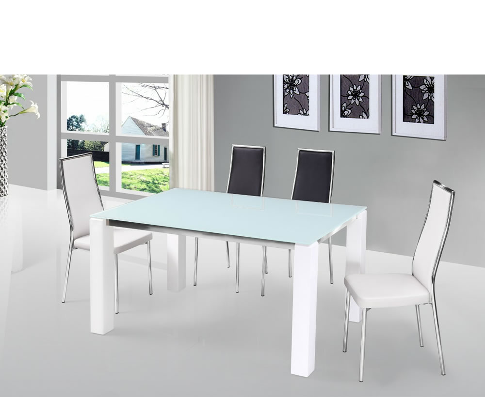 Frosted glass top dining tables excellent full size of for Frosted glass dining table