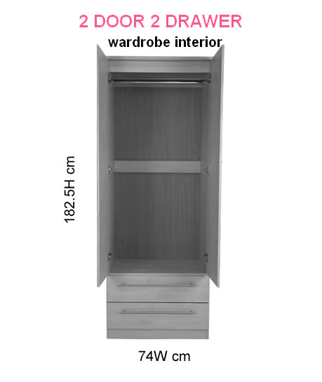 Eden 2 Door 2 Drawer Cream Wardrobe