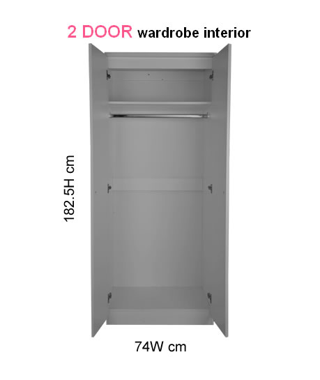 Eden 2 Door Mirrored Cream Wardrobe