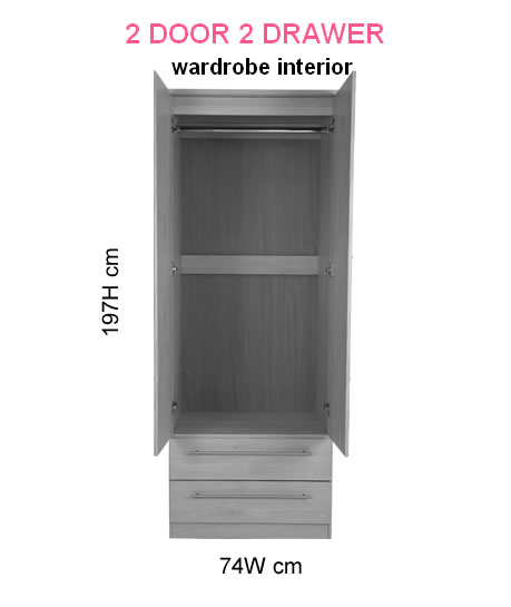 New Sherwood 2 Door 2 Drawer Wardrobe