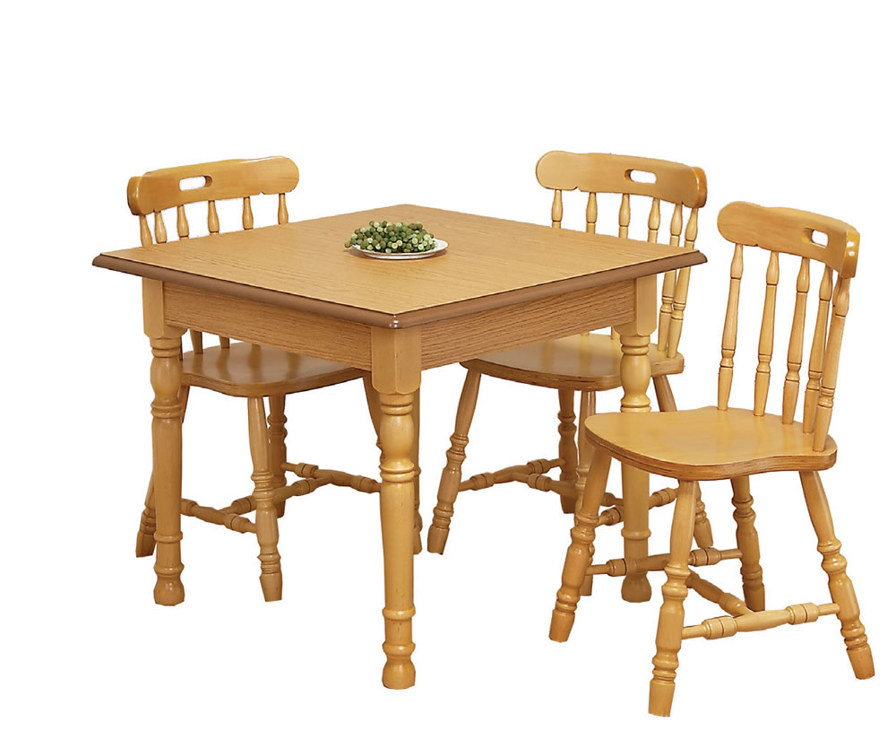 Sutton oak square kitchen table and chairs for Kitchen table and chairs