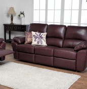 Nova Chestnut Brown 3 Seater Genuine Leather Recliner Sofa