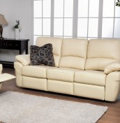 Nova Ivory 3 Seater Genuine Leather Recliner Sofa