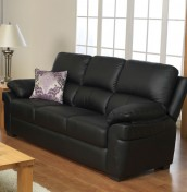 Nova Black 3 Seater Genuine Leather Sofa