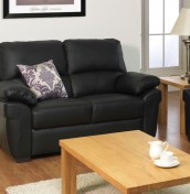 Nova Black 2 Seater Genuine Leather Recliner Sofa