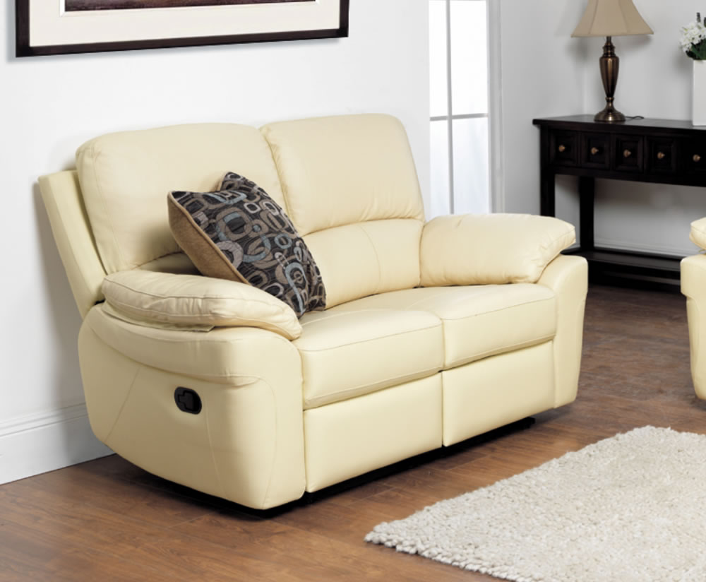 Real Leather Recliner Sofa Ivory 2 Seater Genuine Leather Recliner Sofa Reclining Sofa