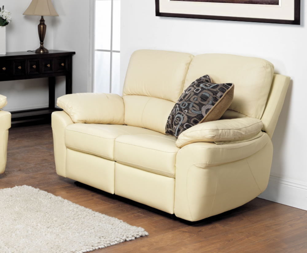 Nova ivory 2 seater genuine leather sofa for Real leather sofas