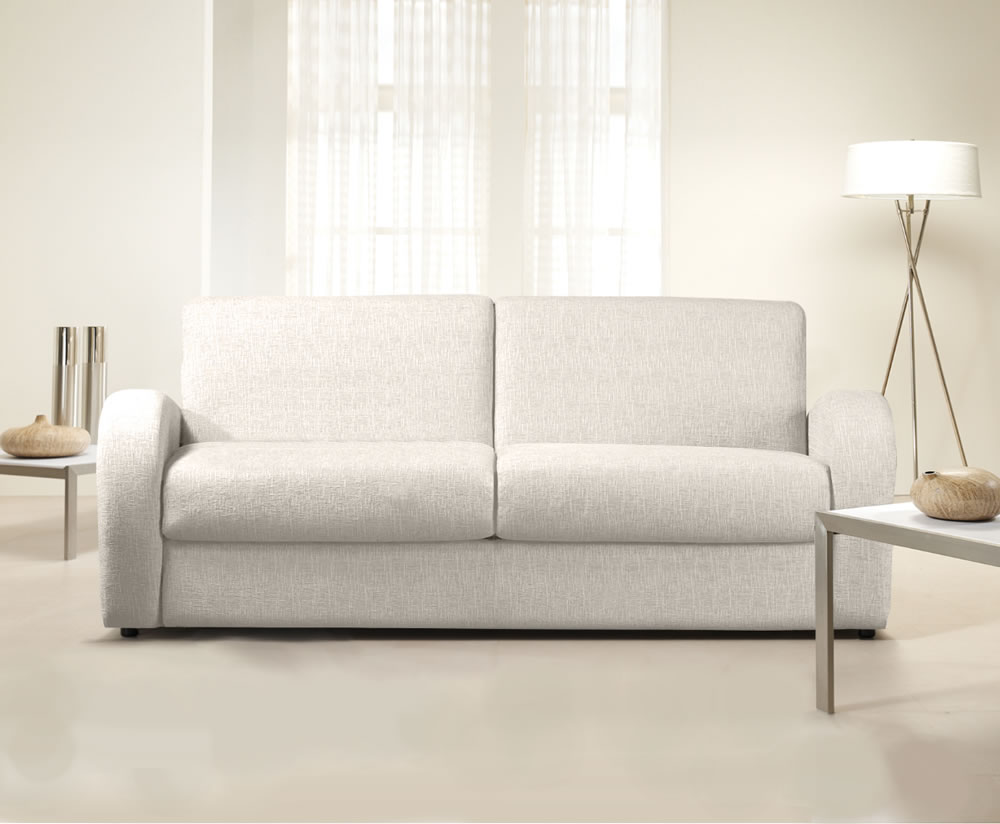 Supra cream faux leather sofa bed Pull out loveseat sofa bed