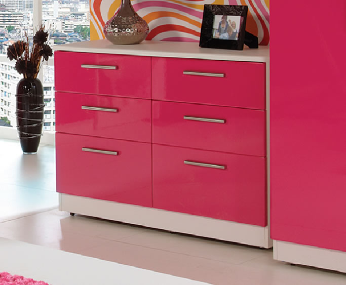 Kati Pink Girls 6 Drawer Wide Chest