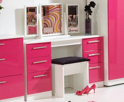 Kati Pink Girls Double Dressing Table Black Or White Base